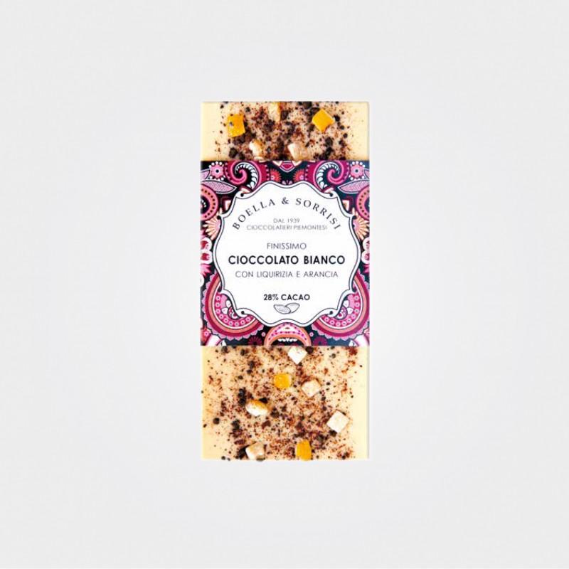 Boella e Sorrisi, Weiße Schokolade mit Lakritz und kandierter Orangenschale, 100g