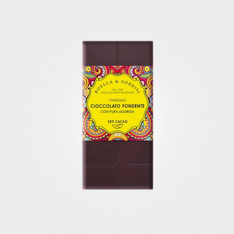 Zartbitterschokolade mit Lakritz von Boella e Sorrisi aus Turin