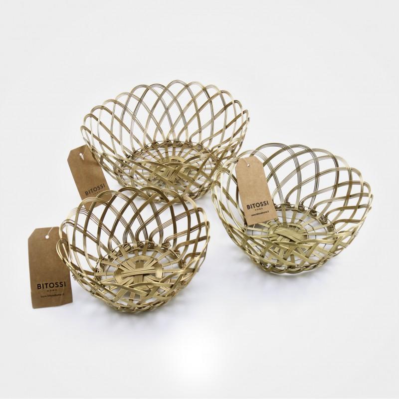 """Bitossi Körbe, """"Intreccio"""" gold-kupfer, verschiedene Größen erhältlich"""