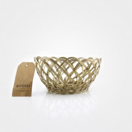 "Bitossi Korb ""Intreccio"", goldkupfer, 15 cm Durchmesser"