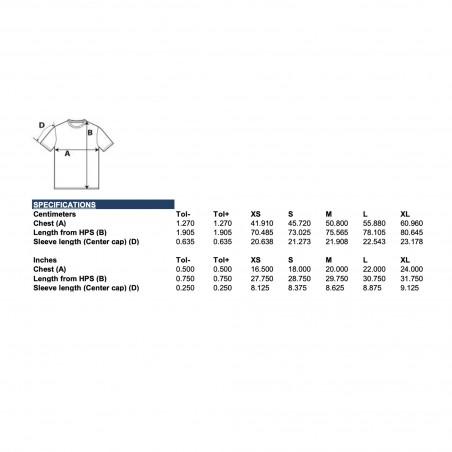 BURRATA T-Shirt, Größentabelle von American Apparel