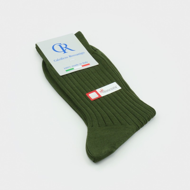 Socken aus Filoscozia Baumwolle, olivgrün