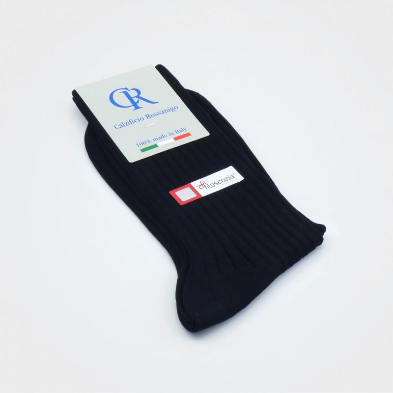 Socken aus Filoscozia Baumwolle, dunkelblau