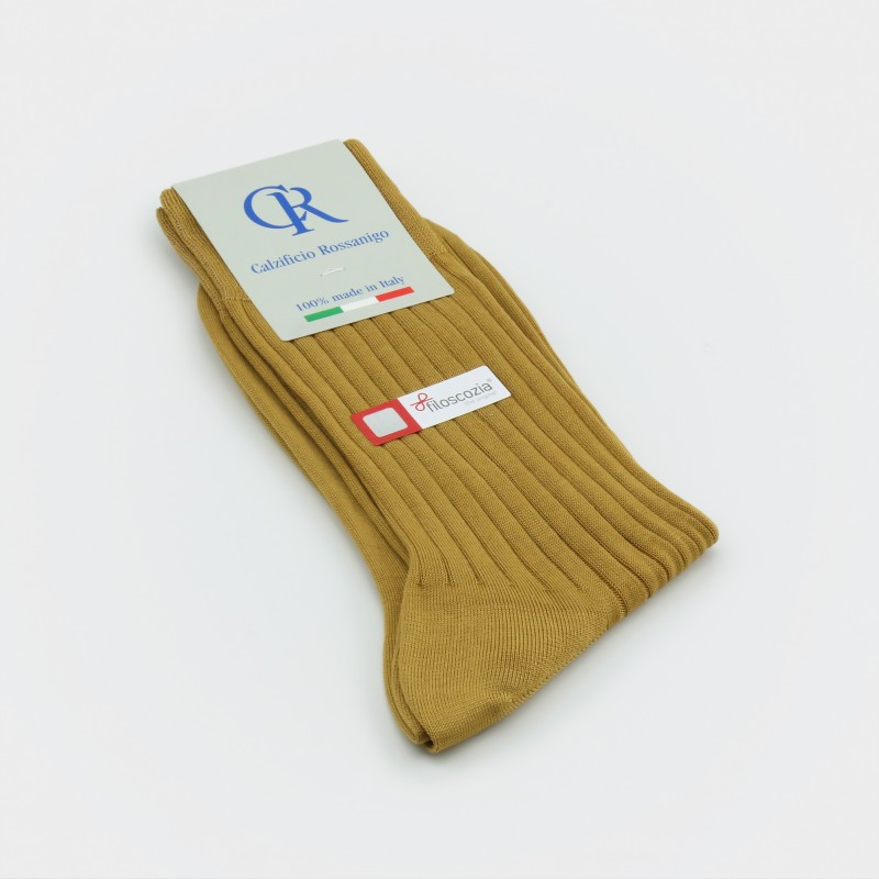 Socken aus Filoscozia Baumwolle, ocker