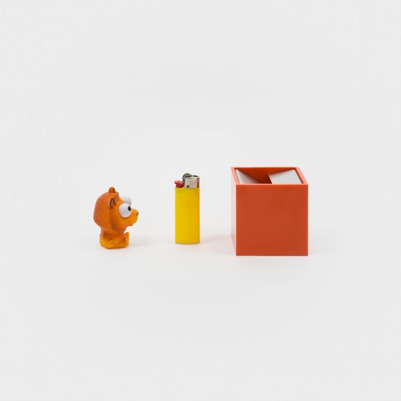 """""""Cubo"""" Aschenbecher von Bruno Munari für Danese Milano: Größe S, orange"""