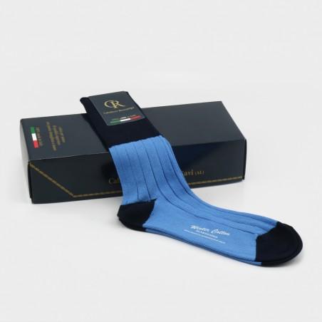 Zweifarbige Socken aus Baumwolle von Calzificio Rossanigo aus dem Piemont; Design Neil Barrett
