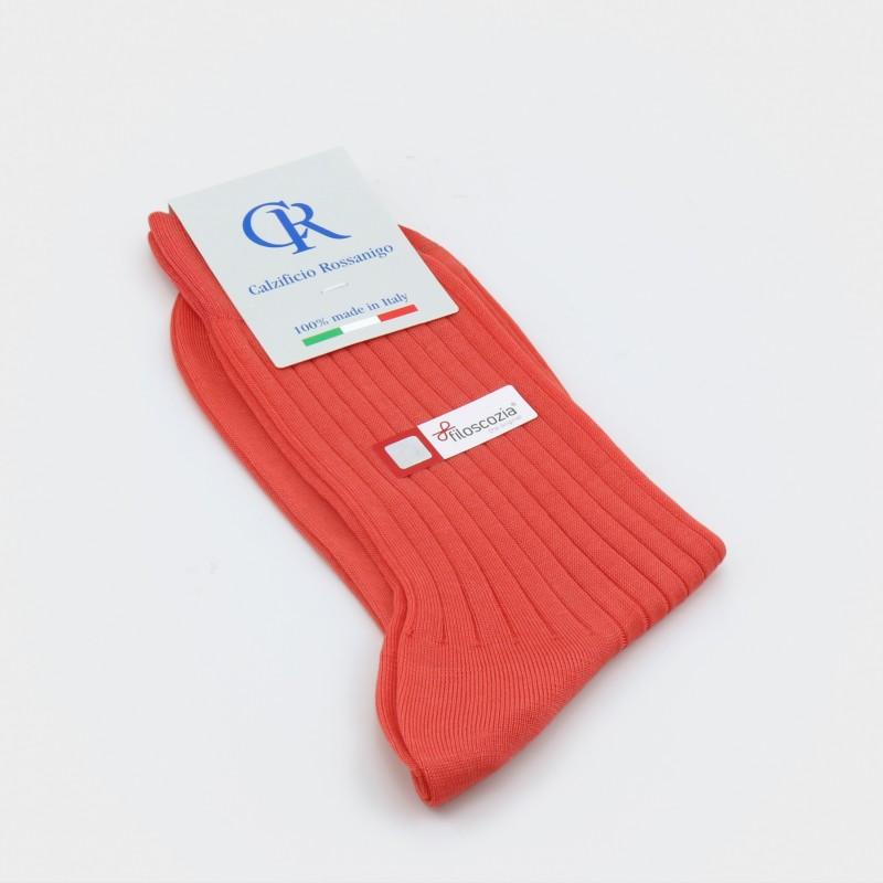 Socken aus Filoscozia Baumwolle von Calzificio Rossanigo, lachs