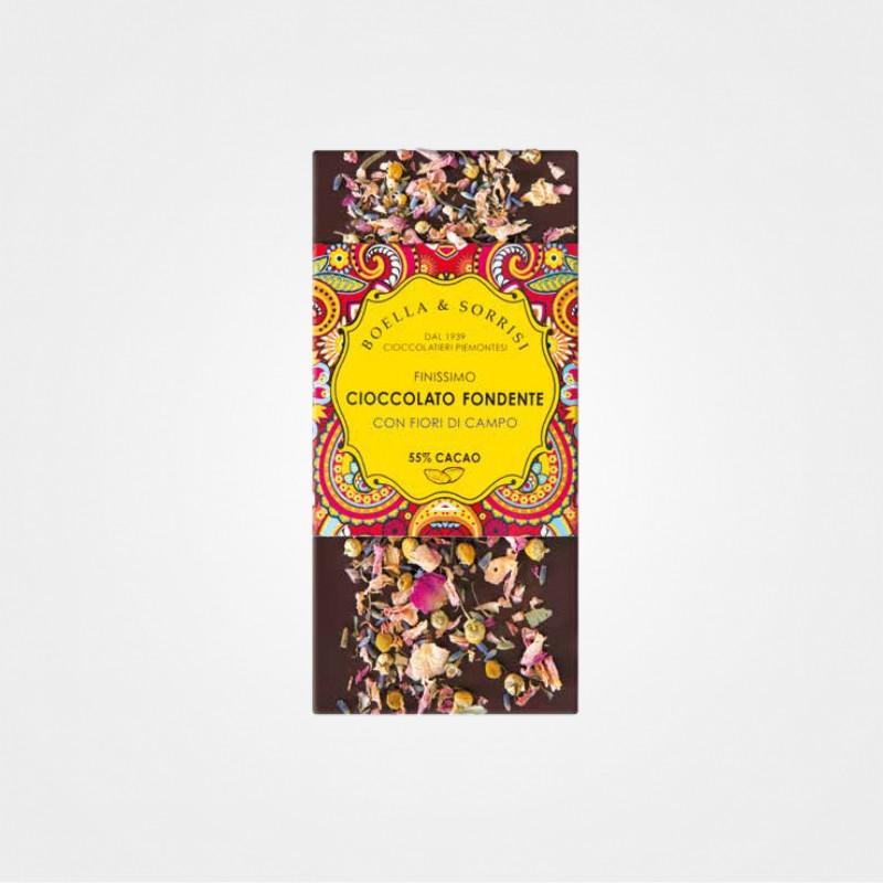 Boella e Sorrisi Zartbitterschokolade mit Blüten