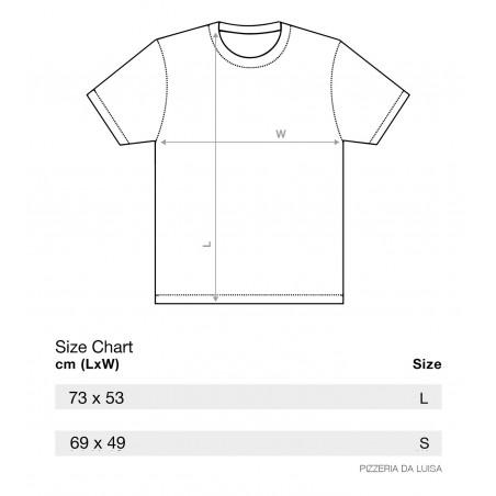 Bagni Luisa, Pizza T-Shirt, Größentabelle