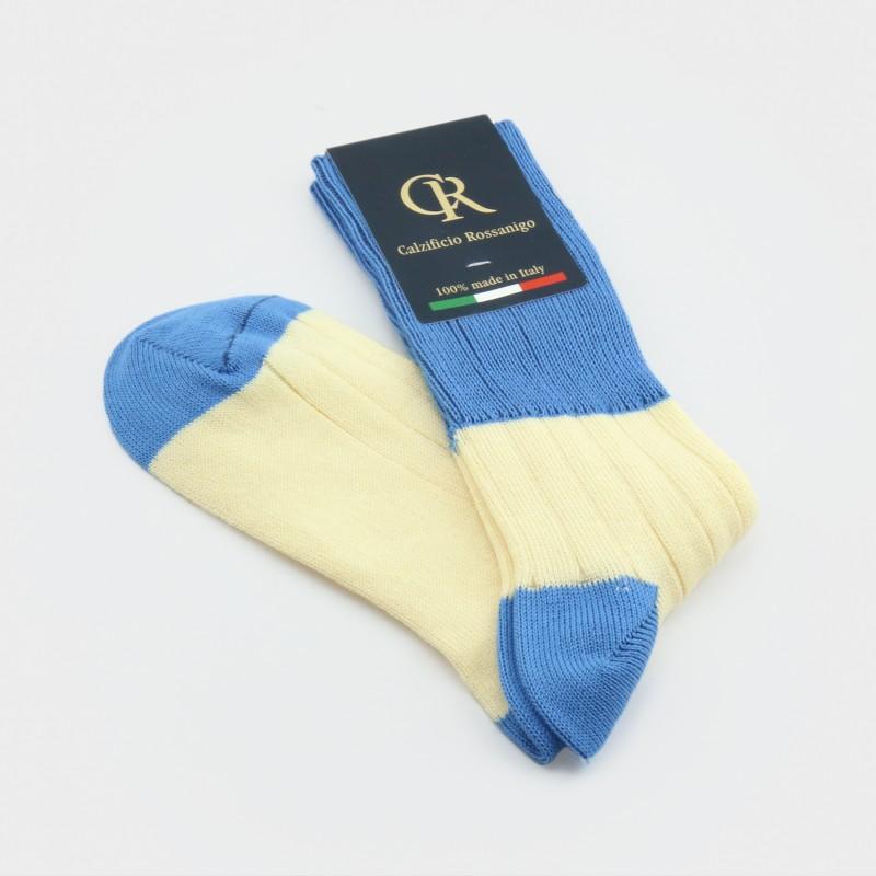Zweifarbige Socken aus Baumwolle & Elasthan von Calzificio Rossanigo