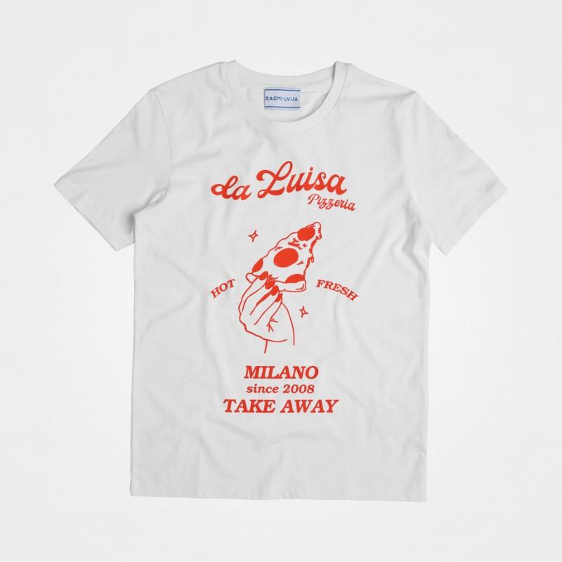 Bagni Luisa, Pizza T-Shirt, weiß