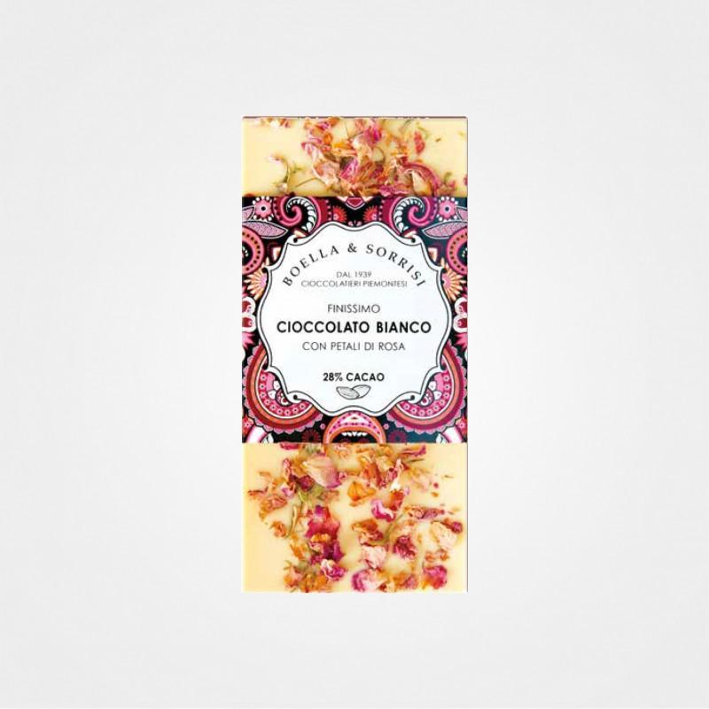 Weiße Schokolade mit Rosenblättern von Boella e Sorrisi