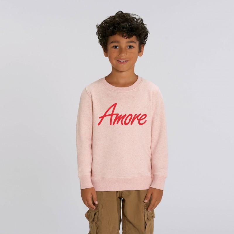 Organic Amore-Sweatshirt für Kinder, cream heather pink