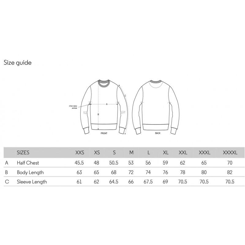 Größentabelle der Stanley/Stella Sweatshirts