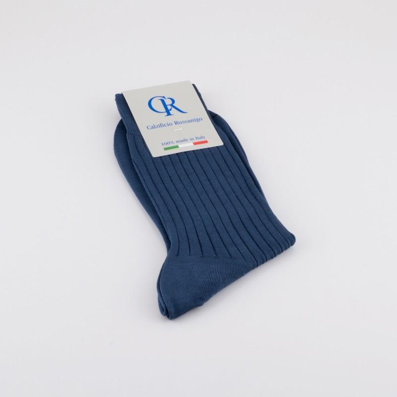 Socken aus Filoscozia Baumwolle, stahlblau