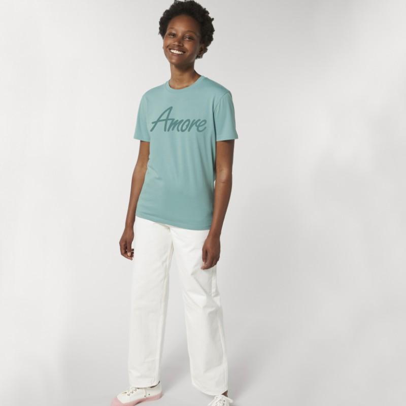 Organic Amore T-Shirt (unisex) teal monstera, Stanley & Stella