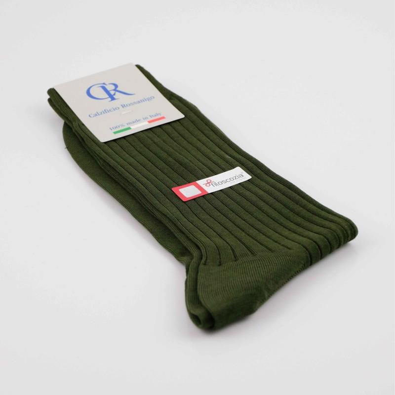 Socken aus Filoscozia Baumwolle, dunkelgrün