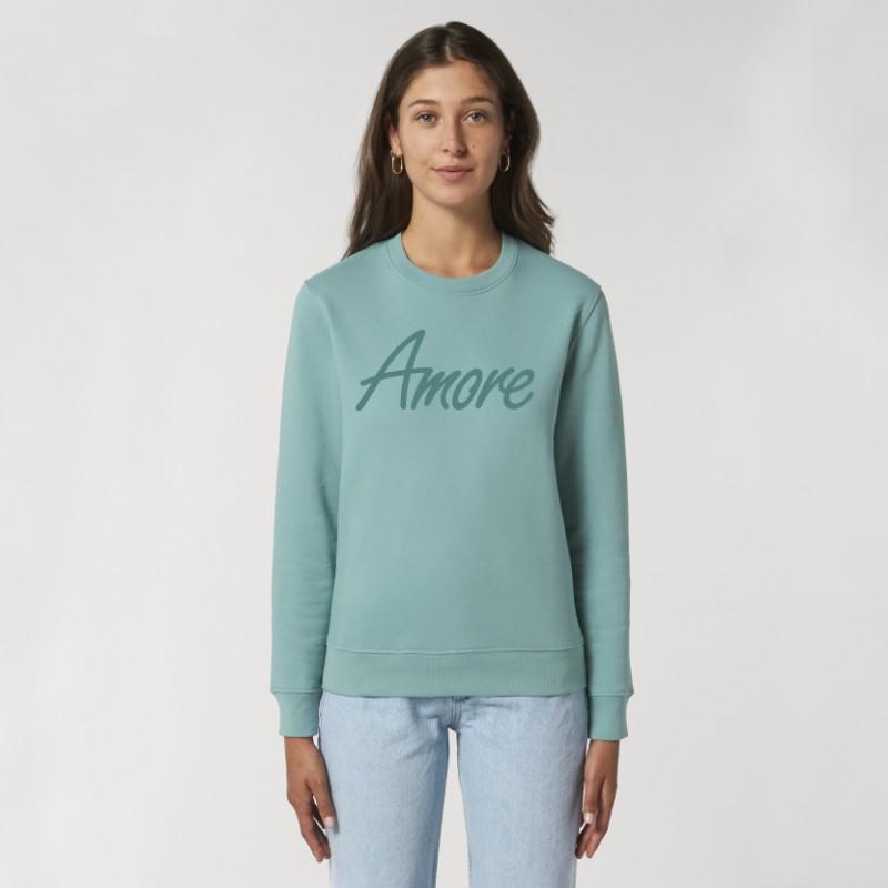 Organic Amore-Sweatshirt (unisex) teal monstera