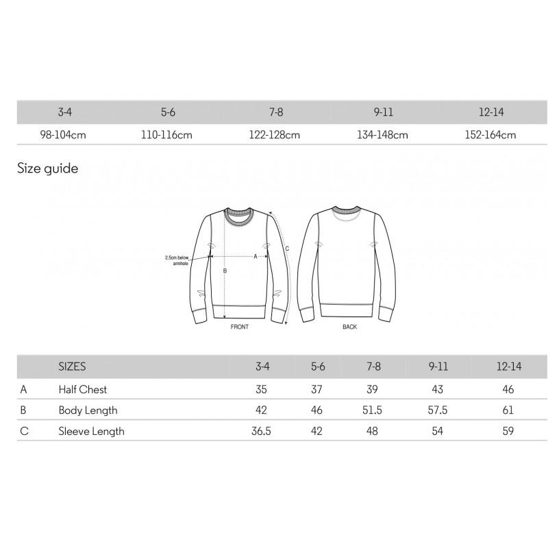 Größentabelle der Stanley/Stella Mini-Changer Sweatshirt