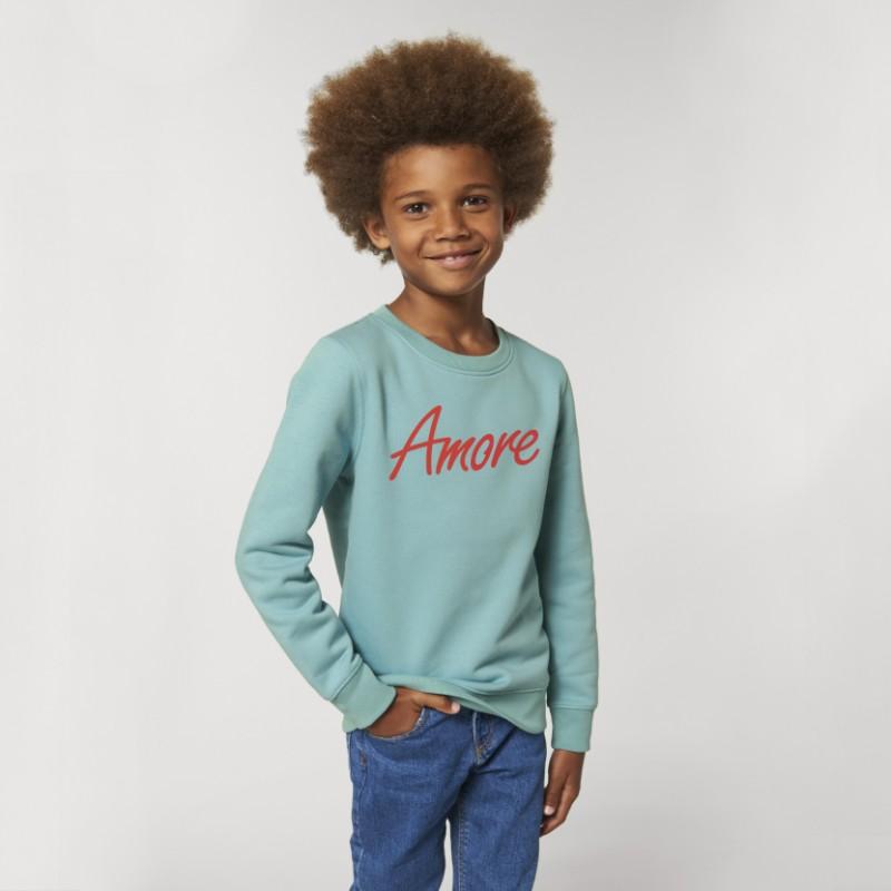 Organic Amore-Sweatshirt für Kinder, teal monstera