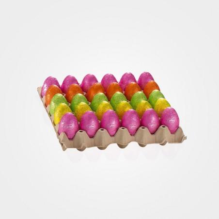 Bunte Eier aus Vollmilchschokolade