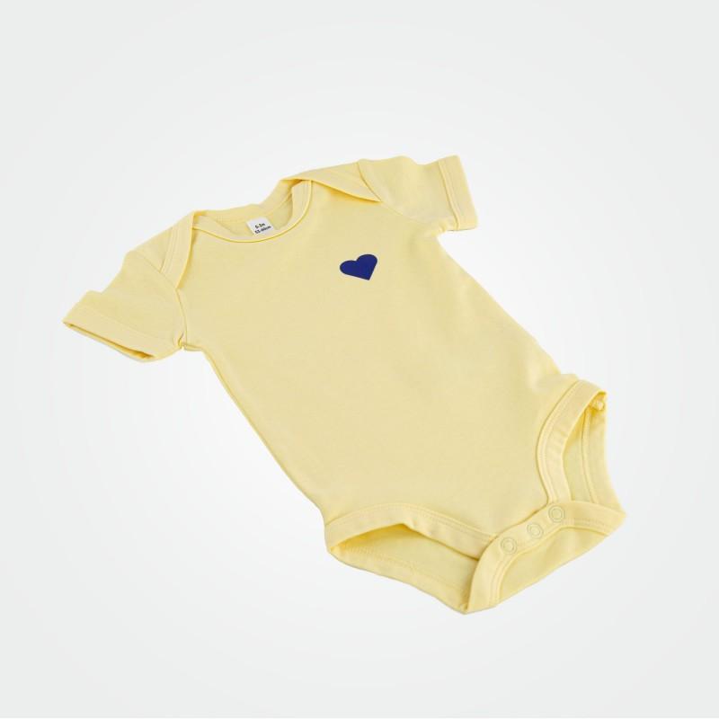 Baby-Body mit Herz, gelb