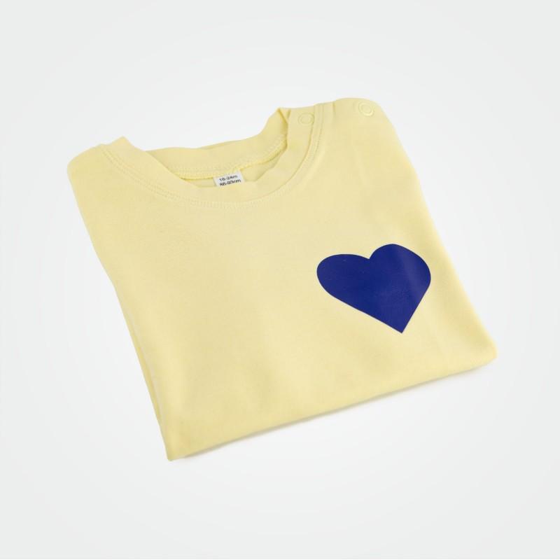 Organic Kinder T-Shirt mit Herz, gelb