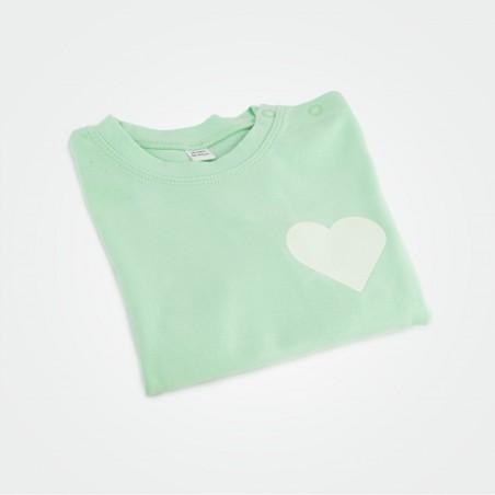 Organic Kinder T-Shirt mit Herz, mint (glow)