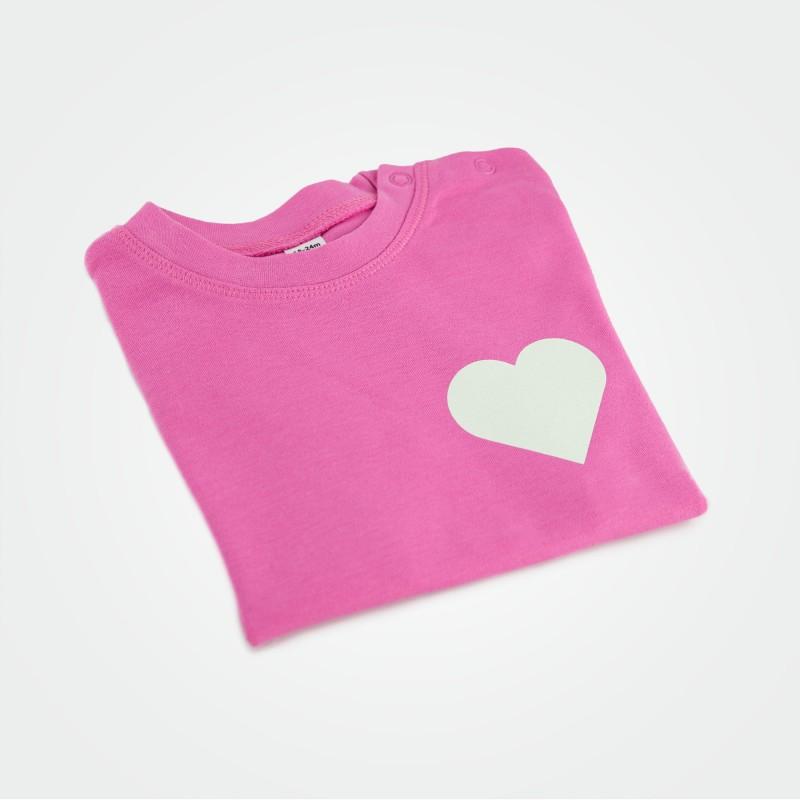 Organic Kinder T-Shirt mit Herz, pink (glow)
