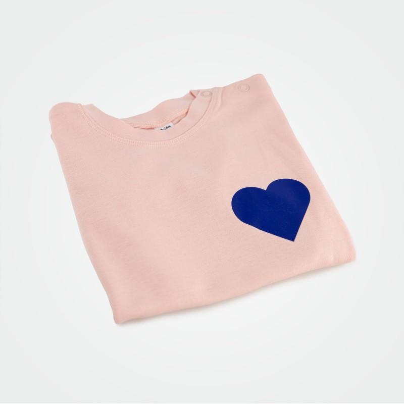 Organic Kinder T-Shirt mit Herz, rosa