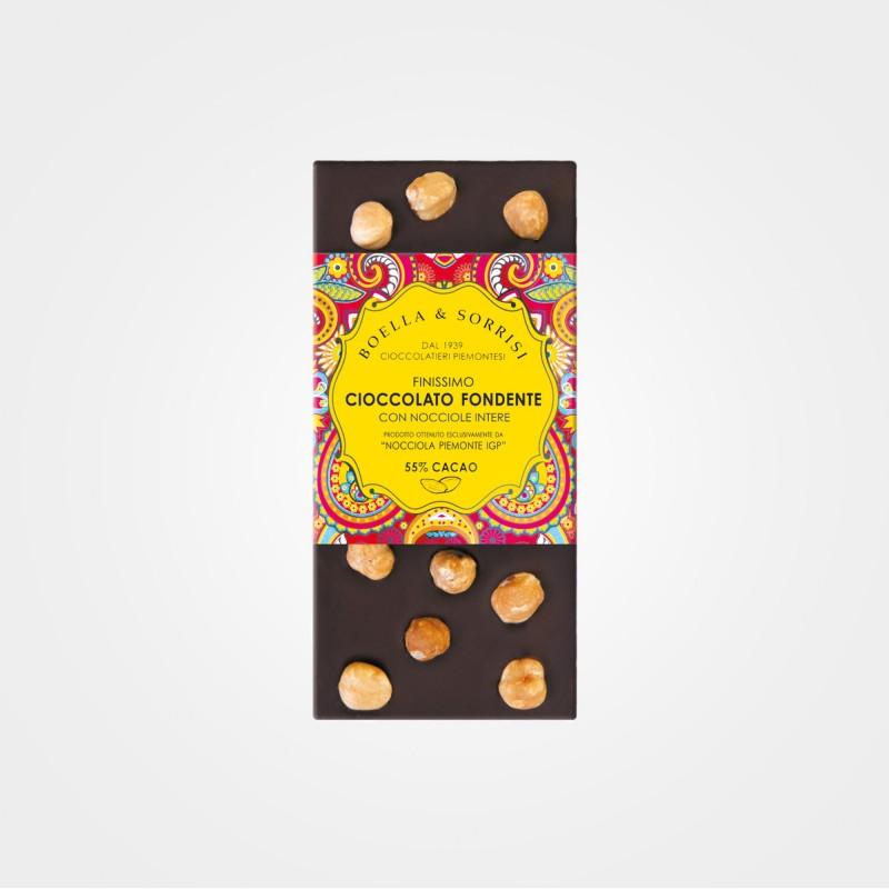 Zartbitterschokolade mit Haselnüssen von Boella & Sorrisi aus Turin, Piemont