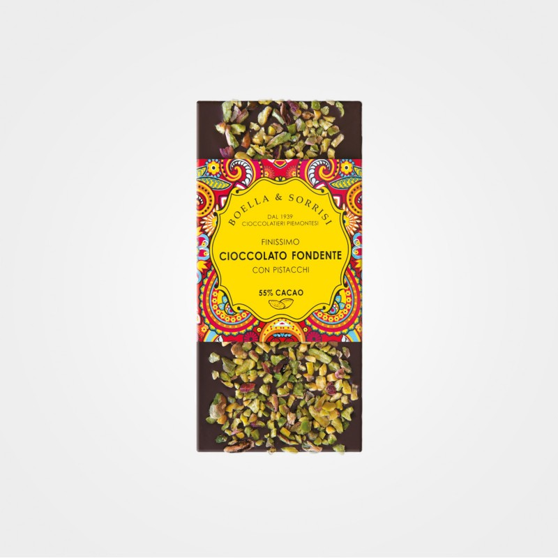Zartbitter-Schokolade mit Pistazien von Boella & Sorrisi aus Turin, Piemont